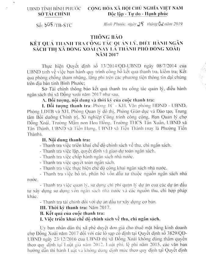 Thông báo kết quả thanh tra công tác quản lý, điều hành Ngân sách nhà nước tại thị xã Đồng Xoài ( nay là thành phố Đồng Xoài) năm 2017